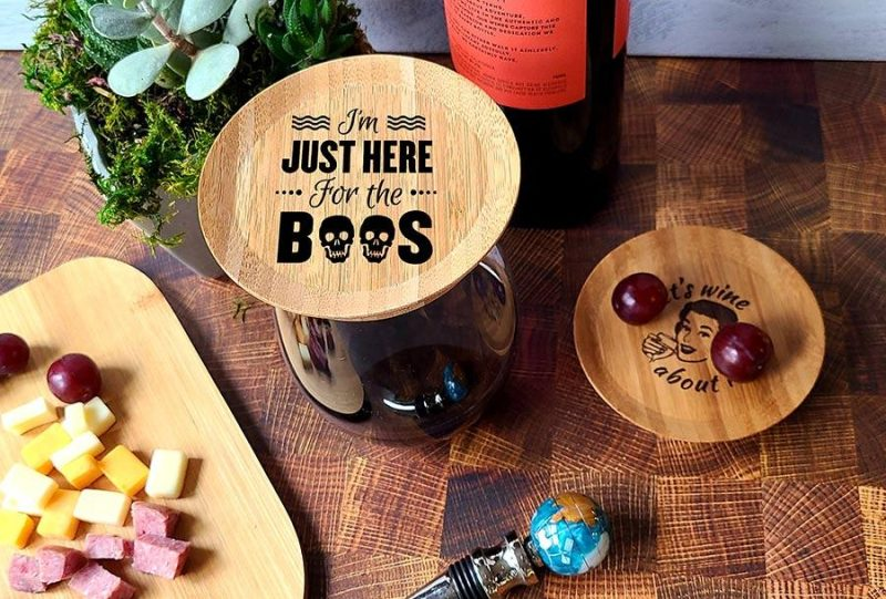 Halloween Themed Wine Glass Topper Appetizer Plates I'm Just Here for the Boos