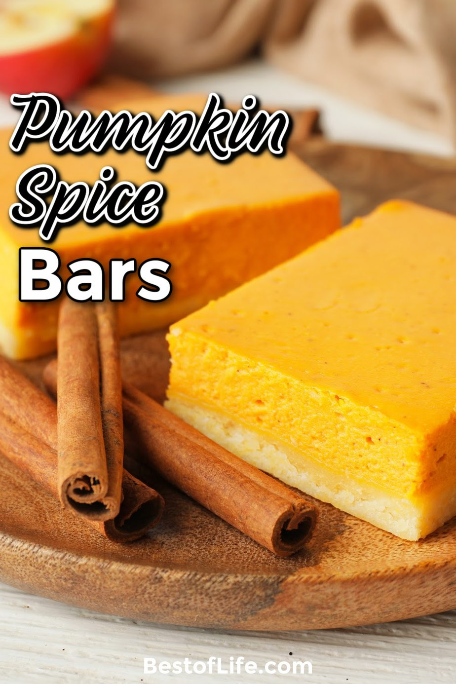 Nothing says fall like the smell of pumpkin spice throughout the home! This pumpkin spice bars recipe is easy and is perfect for pumpkin lovers. Fall Recipes | Halloween Recipes | Thanksgiving Recipes | Pumpkin Recipes | Pumpkin Spice Recipes | Recipes with Pumpkin | Fall Dessert Recipes | Halloween Party Recipes | Thanksgiving Dessert Recipes #fallrecipes #pumpkinspice via @thebestoflife