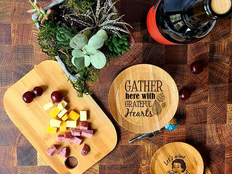 Fall Wine Glass Toppers Gather Here with Grateful Hearts